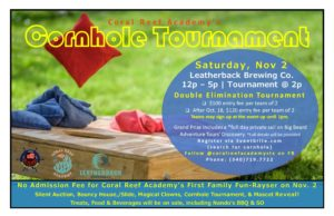 Coral Reef Academy's First Family Fun-Rayser & Double Elimination Cornhole Tournament @ Leatherback Brewing Co.